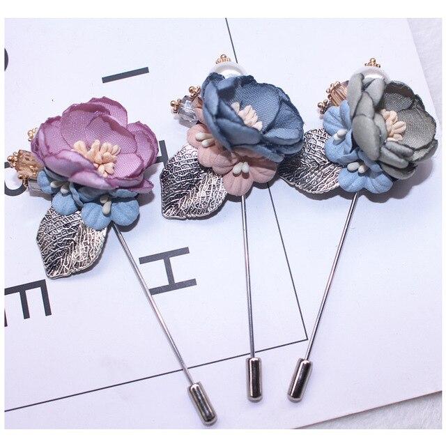 I-Remiel ткань цветок роскошное украшение длинная игла брошь значок лацкан высококлассные булавка воротник рубашка для женщин шарфы аксессуары