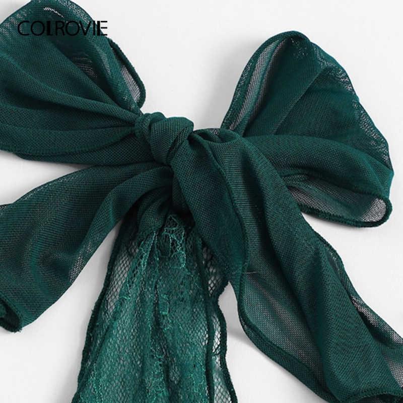 COLROVIE зеленое кружевное Ночное платье с v-образным вырезом и завязками, весна 2019, Корейская ночная рубашка, женская одежда для сна, сексуальная женская ночная рубашка