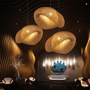 Image 2 - Creativas lámparas colgantes tejidas a mano de bambú, lámparas colgantes para restaurante con personalidad, barra de café, luces colgantes LED