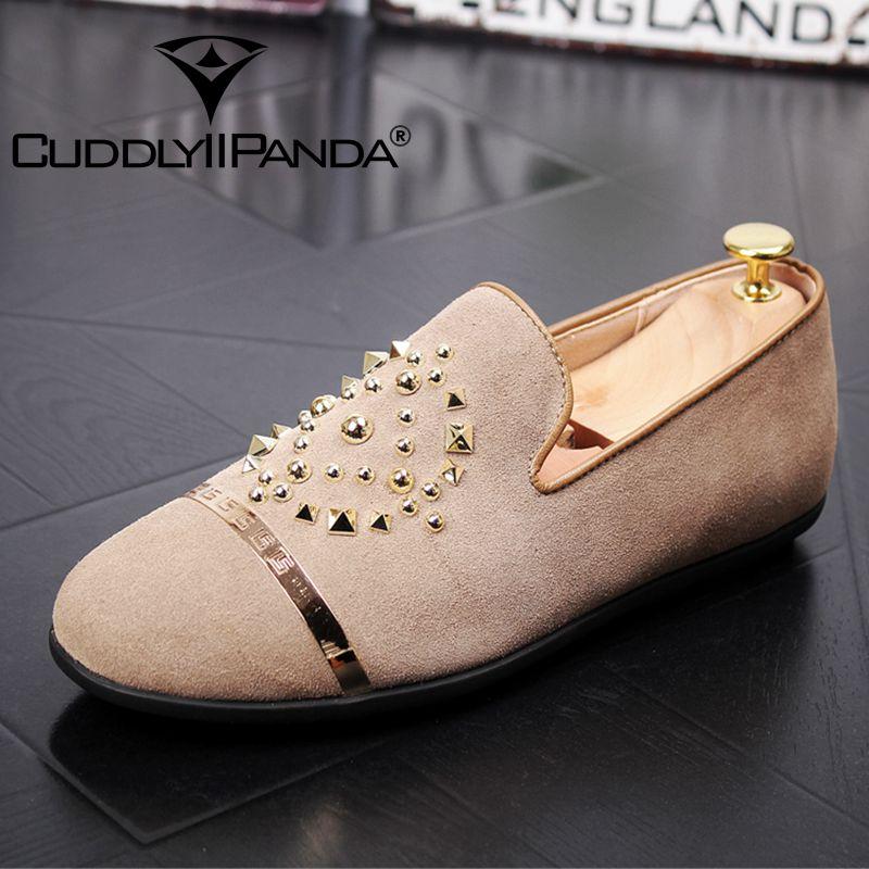 CuddlyIIPanda hommes mode Sneakers nouveauté hommes en cuir véritable luxe Rivets chaussures décontractées homme fête désherbage robe mocassins
