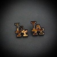 258E Pretty Lady Gold Mirror Acrylic LA Fashionable Party Stud Earrings