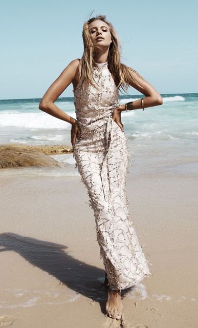 Gold Sequin Tassel Maxi Mermaid Dress