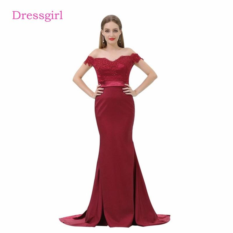 Burgundy 2019 Cheap   Bridesmaid     Dresses   Under 50 Mermaid V-neck Cap Sleeves Lace Beaded Long Wedding Party   Dresses