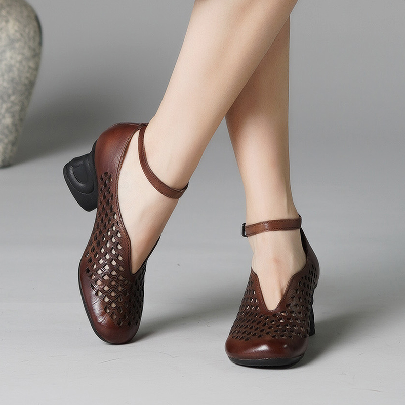 2019 VALLU New Arrival Women Sandals Retro Ethnic Style Shoes Lady Genuine Leather Dress High Heels