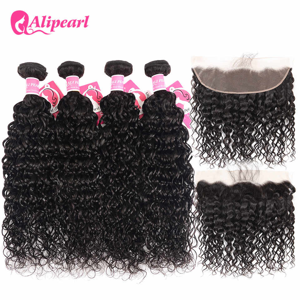 Alipearl Brazilian Water Wave Bundles With Frontal Human Hair Lace Frontal Closure With Bundles 4 PCS Remy Hair Natural Color
