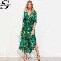 Sheinside Green Palm Leaf Maxi Shirt Dress Tie Waist Women Long Sleeve Beach Summer Dresses 2017