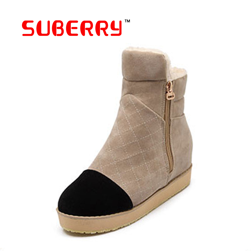 2016 Fashion Joker Suede Round Head Women Winter Russia Snow Boots Warm Flat Ziper Mixed Colors