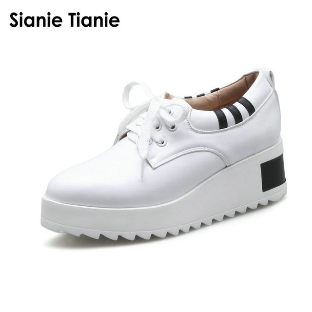 09985408108 Sianie Tianie 2018 spring autumn PU comfortable woman shoes lace up casual  wedges platform white sneakers women big size 42 43