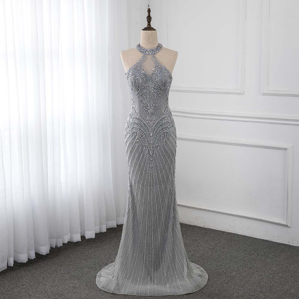 Silver Rhinestone Long Evening Dresses Sleeveless Mermaid Evening Gown See Through Back Formal Dress YQLNNE