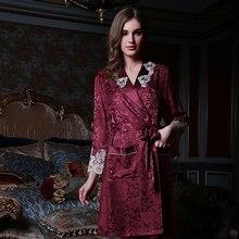 Chinese Pure Silk Robe Female Long-Sleeve 100% Sleeping Sleepwear Bathrobe Dressing Gown Kimono Homer 13166