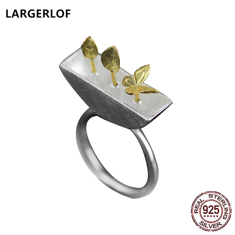 LARGERLOF Real 925 Silver Jewelry Rings Natural Handmade Fine Jewelry Vintage Rings For Women JZ47002 handmade stripe pattern exaggerated flower leaves rings wide real pure 999 sterling silver rings for women lady vintage jewelry