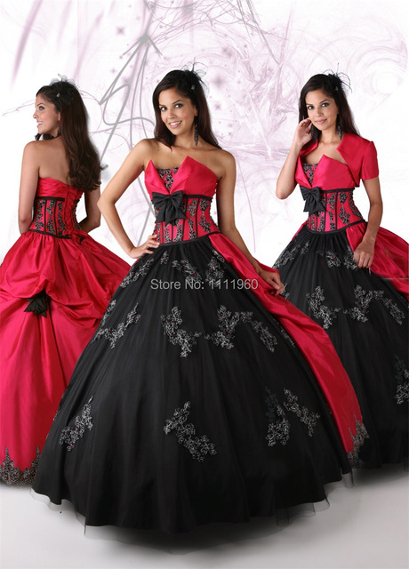 a2ce60999e Red Black Quinceanera Dress Ball Gowns 2015 Two Piece Appliques Masquerade  Ball Gowns Taffeta Vestido De