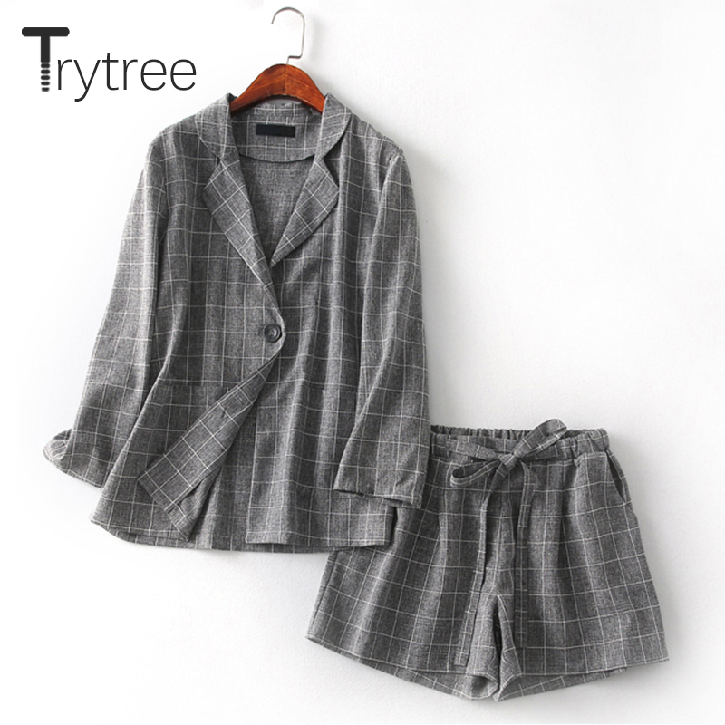 Trytree Spring Summer Women Two Piece Set Office Tops + Shorts Plaid Top Female Suit Set Casual Women's 2 Piece Plus Size Set