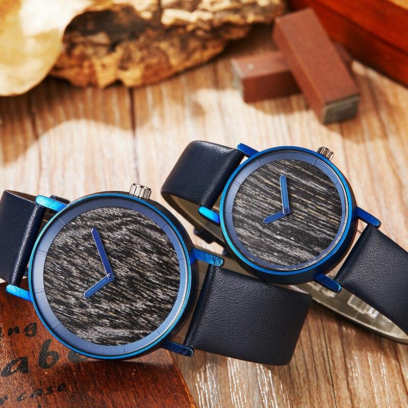 New Fashion Natural Wood Watch Women Men Blue Leather Strap Elegant Wooden Clock Analog Original Ladies Couple Quartz Wristwatch