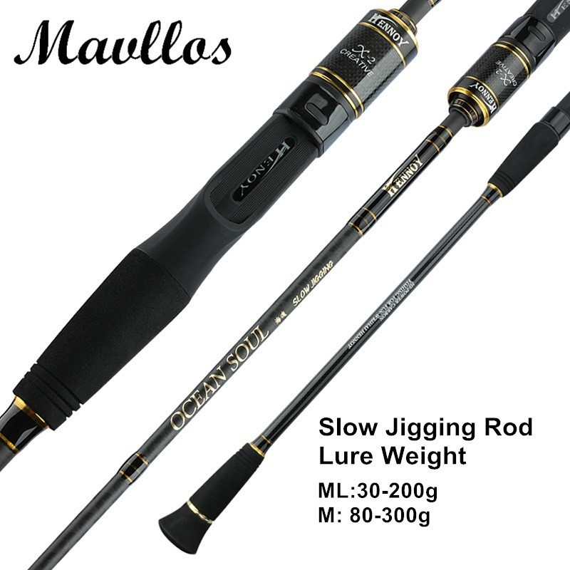 Mavllos 1.95m ML/M Slow Jigging Rod 2 Section L.W. 30-200g/80-300g Ultra Light Saltwater jig Fishing rods Casting Spinning Rod цена