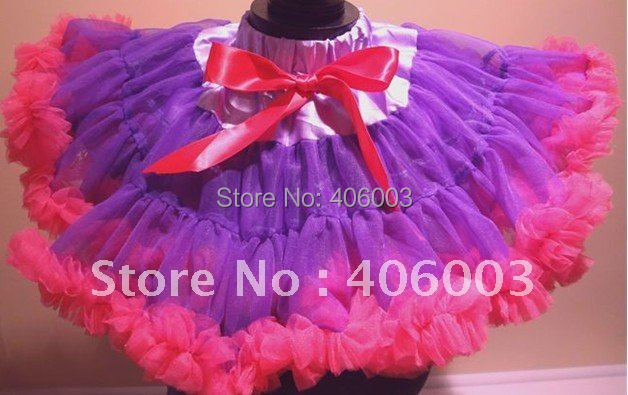 hot sell wholesale baby girls skirts birthday tutu skirt pettiskirt purple+hot pink