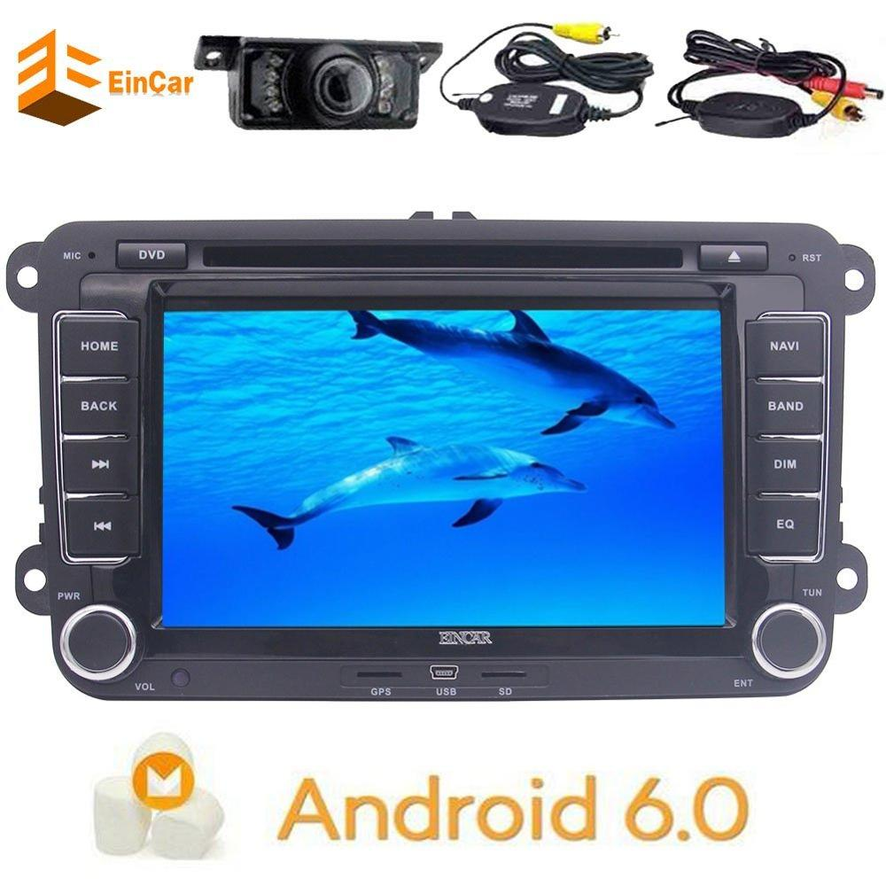 Wireless camera + GPS Navigation for Car Stereo Double Din Bluetooth FM AM radio USB SD music 7 Android 6.0 Sat Nav for VW