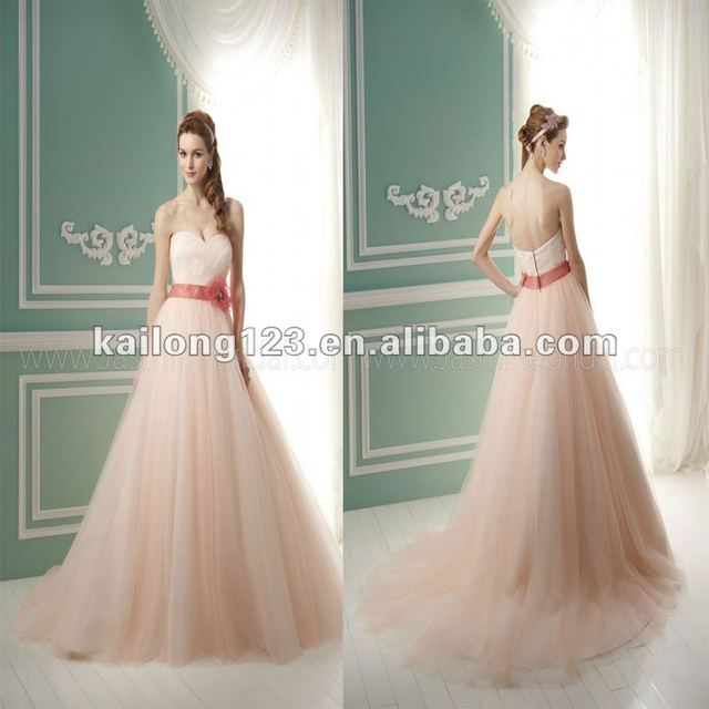 Sweetheart A line With Flower Sash Chapel train Ruched Soft Tulle ...