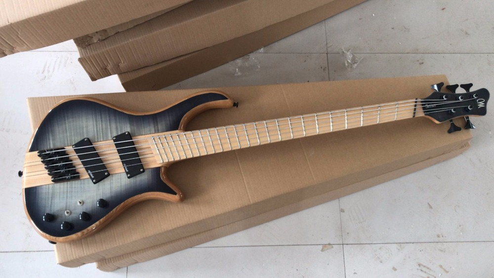 free shipping Factory customize 5 strings neck through active pickups fanned fretted Bass electric guitar top quality black color 4 bass electric guitar strings 2018 china low hot guitar factory sale free shipping