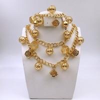 Gold Plated Rhinestone Dubai Ethiopian Gold Plated Nigerian Wedding African Beads Jewelry Set Women Parure Bijoux