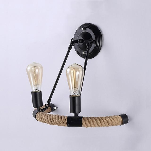 Vintage Retro Loft Touw Wandlamp  4