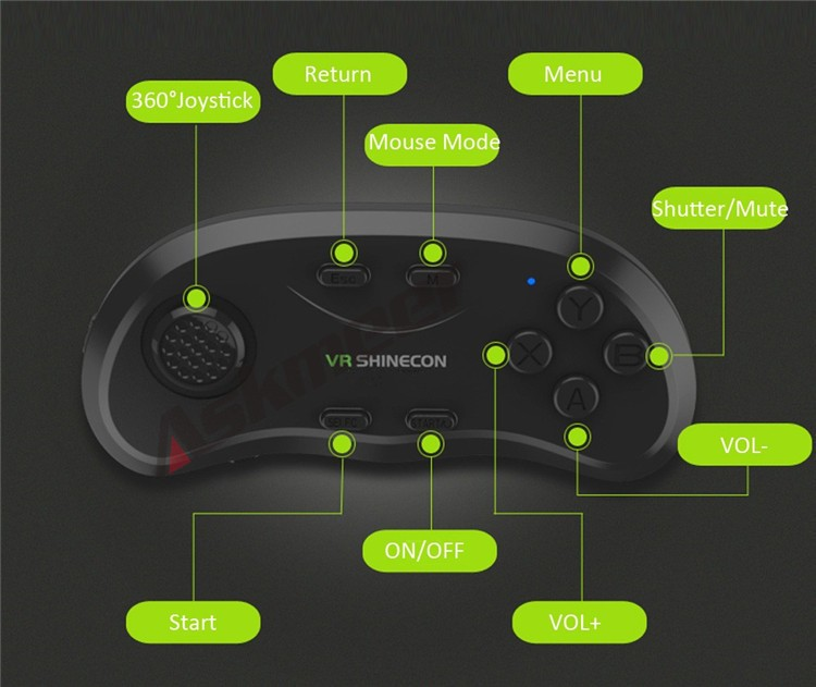 New Original VR Shinecon Bluetooth Remote Controller Wireless Gamepads Mouse Selfie Shutter 3D Game for Smartphone Tablet TV BOX (3)
