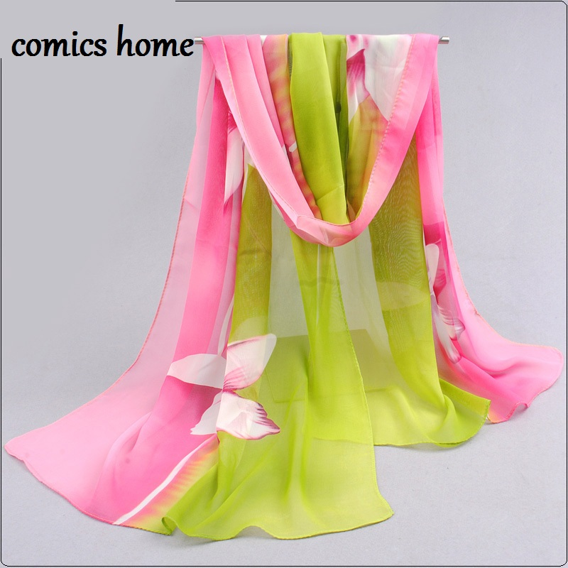 2016 Womens Fashion Silk Scarf Scarves Hijab Sale Promotion Print Flower Shawls Women's Chiffon Silk scarf from india