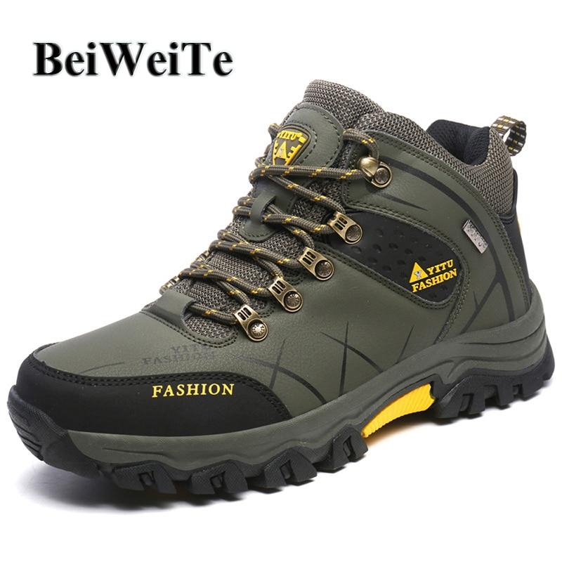 Spring Lelaki Hiking Shoes Saiz Besar Lelaki boleh pakai Anti-slip Sneakers Climbing Kulit kalis air Pelancongan Trekking Kasut Luaran Baru