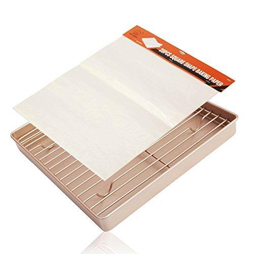 Baking tray Sheet with Cooling Rack Paper Baking Mat Set of 3 Nonstick Cookie tart cake Pan 11 inch Gold LUFEIYA