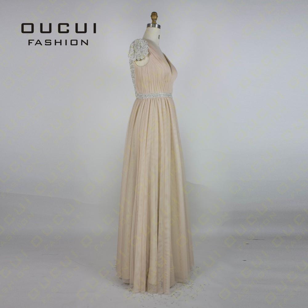 Tulle Fabric Pleat With Beading Handwork Bridesmaid Mermaid Long Prom Dress With Stones OL102785 vestido de festa de casamento 8