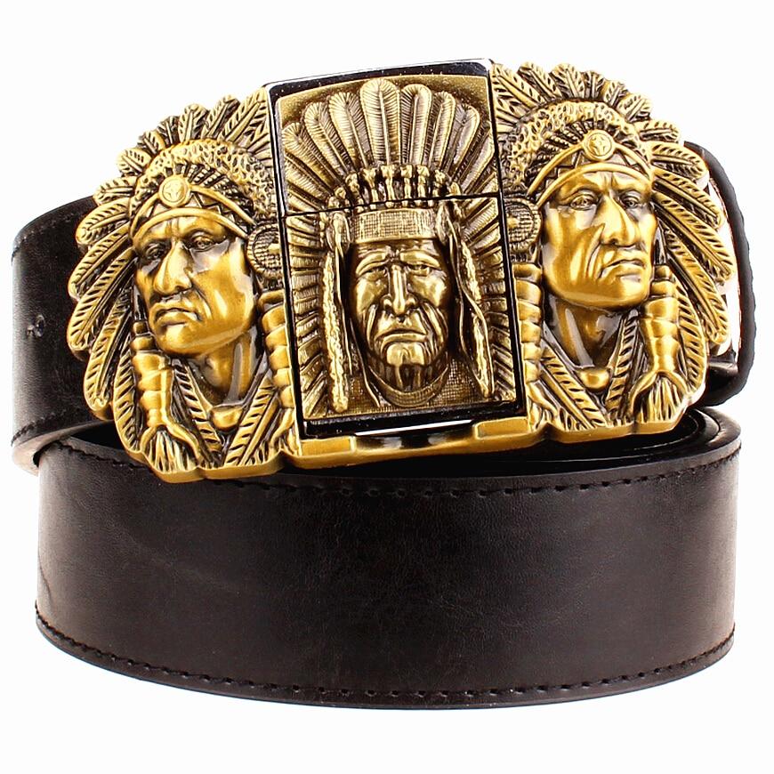 Мода мъжки кожен колан запалка метална ключалка колани Керосин запалка колан пънк рок стил индийците орел шоу колан подарък за мъже