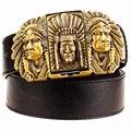 Fashion male leather belt lighter metal buckle belts Kerosene lighter belt punk rock style indians eagle show belt gift for men