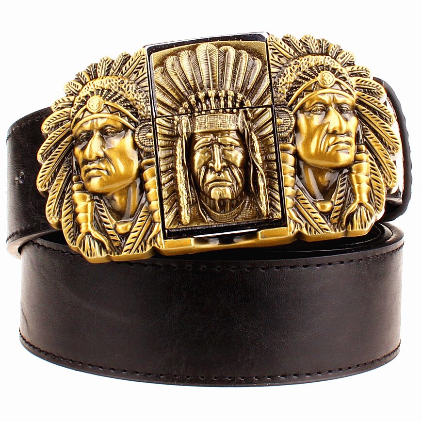 Fashion male leather   belt   lighter metal buckle   belts   Kerosene lighter   belt   punk rock style indians eagle show   belt   gift for men