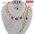 Westernrain 2017 hot contas de casamento conjunto de jóias azul royal traje contas de cristal set jóias colar a033bu