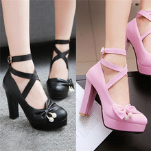 2019 Lolita Cross straps large bow student shoes sweet and cute style Multi-color optional Free shipping A