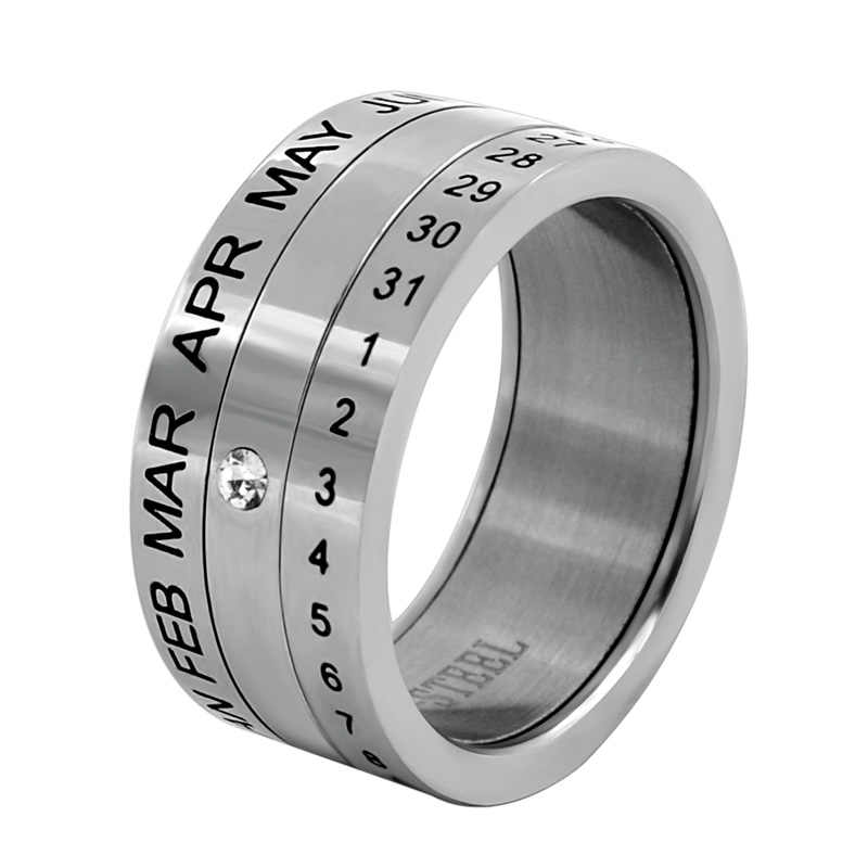 Number and Month Letter Rotatable rings for men anillos Titanium Stainless Steel Punk Party Ring Jewelry