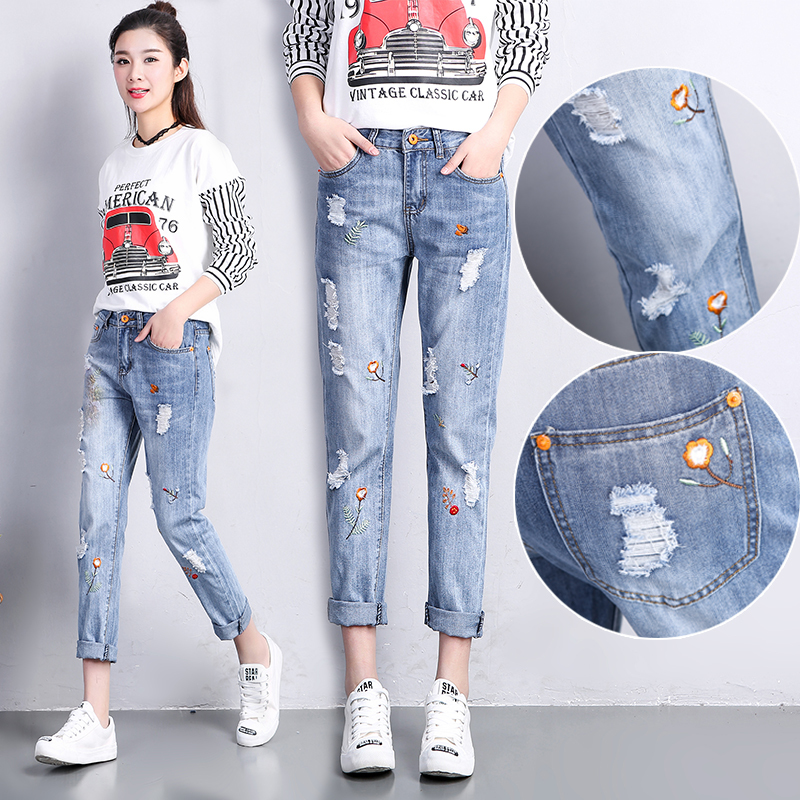 New 2017 Spring Women Jeans Ripped Mid Waist Floral Embroidery Ladies Harem Denim Pants Calf Length Jeans E699 new summer vintage women ripped hole jeans high waist floral embroidery loose fashion ankle length women denim jeans harem pants