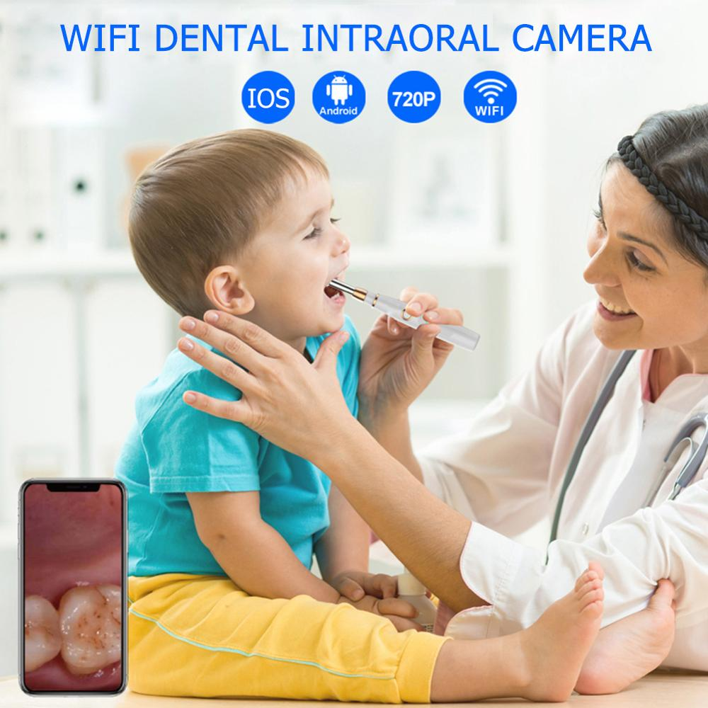 Купить с кэшбэком WIFI Intraoral Camera 720P HD WIFI Dental Intraoral Camera Waterproof Endoscope Teeth Mirror LED Monitoring Inspection Dropshipp