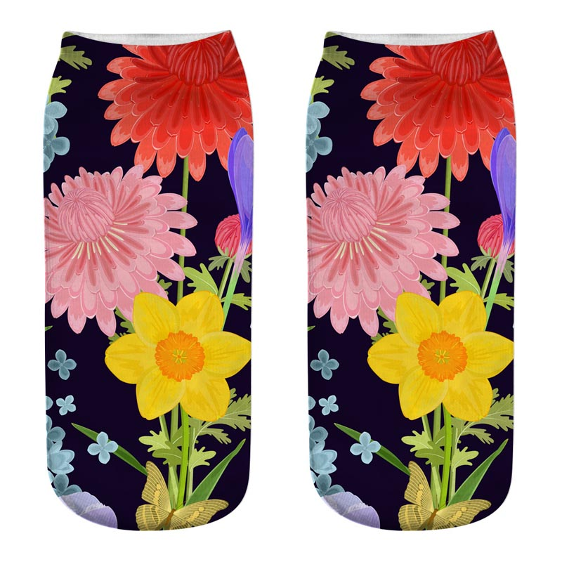 Vintage Flowers 3D Full Printed   Sock   Women Low Cut Ankle   Socks   Lovely Sokker Cotton Hosiery Elegant   Socks