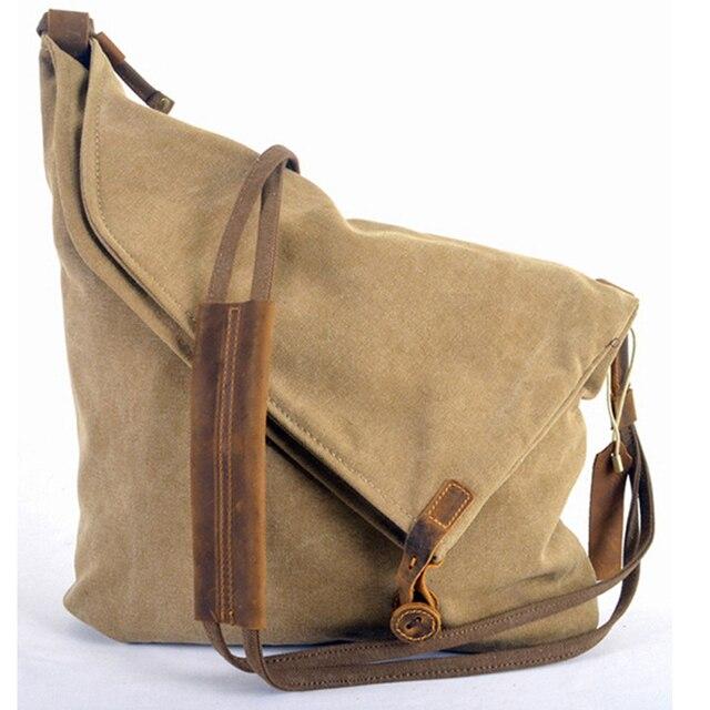Retro vintage In Pelle Militare Degli Uomini di Tela Sacchetto del Messaggero delle Donne Borse A Spalla Per gli uomini Crossbody Bag di Tela di Cotone Sacchetto di Casual