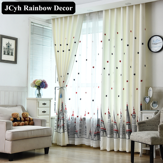 Modern Children Blackout Window Curtains For Living Room Kitchen Curtain  Kids Embroidered Curtain For Bedroom Tulle