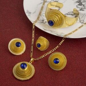Image 4 - Hot Ethiopian Jewelry Sets Coptic Cross Gold Color Sets Nigeria Eritrea Kenya Habesha Style