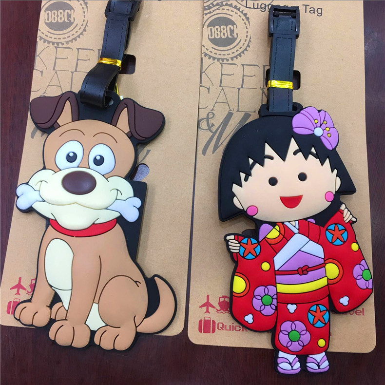 Dog Chi-bi Maruko Anime Travel Accessories Luggage Tag Suitcase ID Address Portable Tags Holder Baggage Label Gifts New
