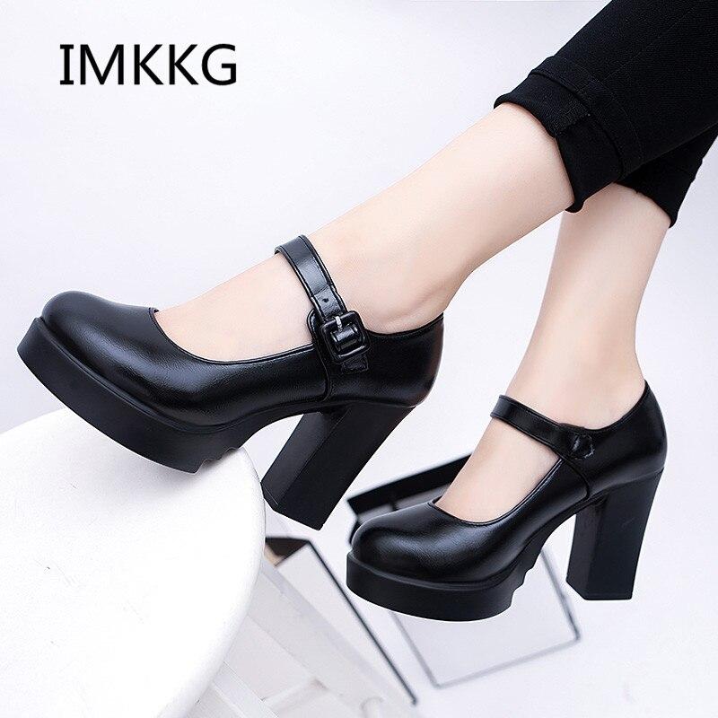018 Frauen Pumpen Frühling Und Herbst Schuhe Super Quadrat High Heels Plattform 2,5 Cm Runde Kappe Schuhe Für Frauen V036 Durchsichtig In Sicht