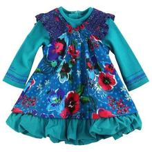 2017 new fall girls French style  flowers bud dress &kids long-sleeve fake two-pieces princess dresses