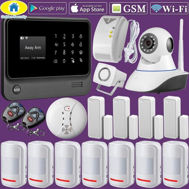 Золотой безопасности G90B плюс Wi Fi GSM GPRS беспроводной дома Защита от взлома системы приложение управление Поддержка CID протокол