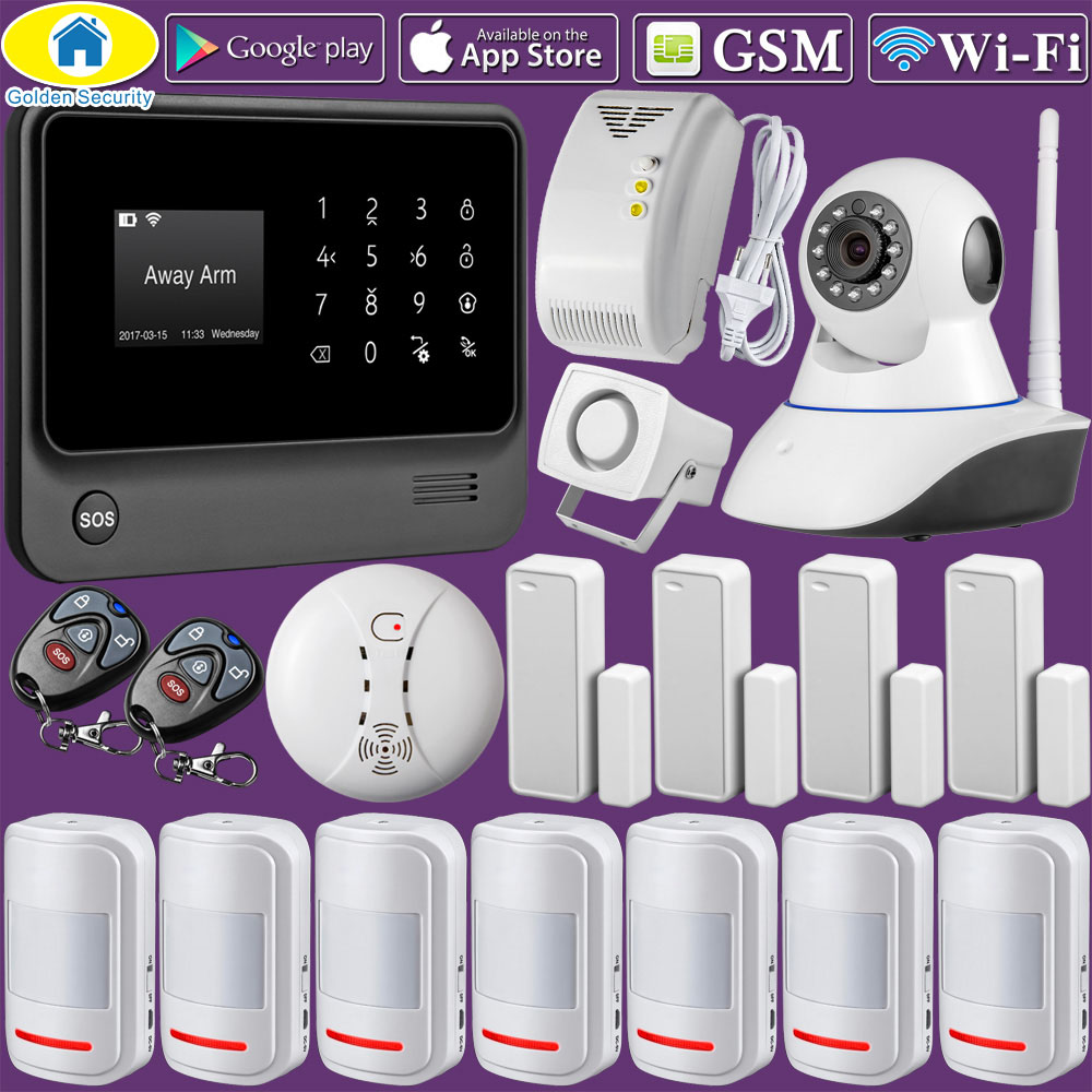 Golden Security G90B Plus WiFi GSM GPRS Wireless Home Burglar Alarm System APP Control Support CID Protocol golden security wifi gsm 2g 3g gprs alarm system wireless smart house security app remote control support cid protocol