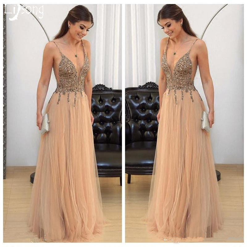 Champagne Beaded Strap Simple Soft Tull Long   Prom     Dress   Open Back Women Formal Maxi Gowns Romantic for Special Occasion Evening