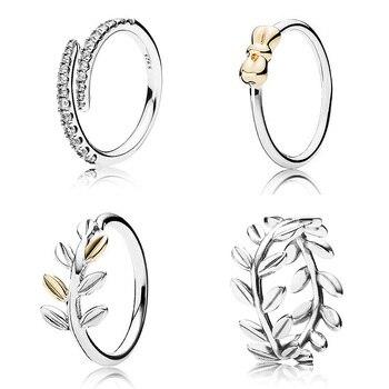 2c167ebf9b46 Nuevo anillo de Plata de Ley 925 estrella hojas de Laurel anillos de cristal  para las mujeres regalo de boda bien de la joyería de DIY