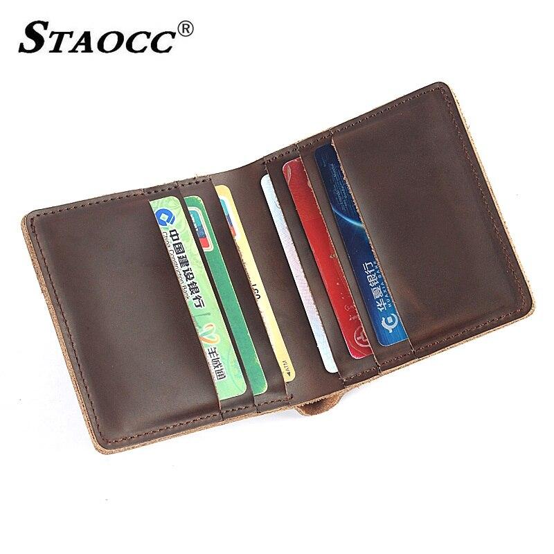 Small Wallet Men Genuine Leather Vintage ID Card Holder Purse Business Wallet Money Bag Short Male Wallets Slim Cowhide 2018